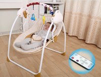 automatic rocking crib - 2016 Baby bouncer Electric Wireless remote control Musical bouncer crib kid automatic vibrating rocking cradle intelligent swing folding bed