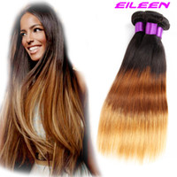 Cheap Hot Selling 4Pcs Peruvian Virgin Hair weave straight Ombre Hair Extensions 6A Unprocessed three tone Peruvian straight Hair1b#4 27