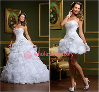 Reference Images sexy mini wedding dress - 2015 Sexy vestido de noiva White A Line Wedding Dresses Strapless Two in One Detachable Skirt Mini Short Court Train Bridal Gowns LT89