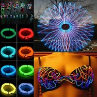 Wholesale 3M Flexible EL Wire Strip Tube Rope Battery Powered Neon Glow Light Wedding Dance Party Car Auto Bar Show Decoration Controller