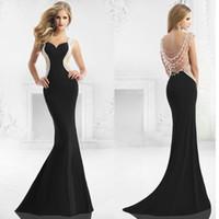 2015 Superb nero Prom Dresses Lusinghiero innamorato Perle rilievo Maniche Cap Liste di Open Back Abiti Pageant Fringe abiti di sera a buon mercato