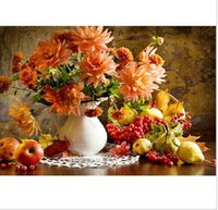 Wholesale 2015 DIY Frameless Pictures Paint By Numbers Digital Oil Painting On Canvas handwork gift set of flower and apple DO012