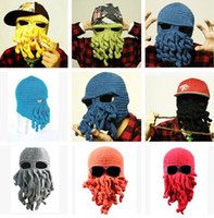 Beanie/Skull Cap Printed Top Hats Novelty Cool Handmade Knitting Wool Funny Animal Cuttlefish Beard Octopus wool Hats caps Crochet Tentacle Beanies Men Women Unisex Gifts