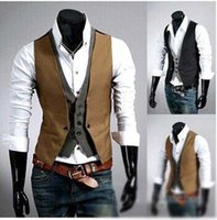basic vest tops - Spring Fashion New Basic Casual Suit Vest Men Brand Quality Tank Tops Faux Two Piece Waistcoat FreeDrop Ship Plus Size XXXL