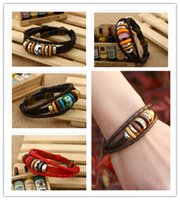 beaded woven bracelet - HOT new fashion Leather cowhide couple Bracelets layer cowhide alloy wooden beads diamond Bracelets handmade infinity weaving