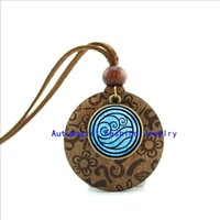 avatar leather necklace - New Design Wood Necklace Water Tribe Necklace Avatar The Last Airbender Glass Cabochon Dome Pendant WL