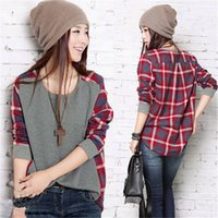 cotton blends   blouses - New Arrivals Women Girl Blouse Shirts Plaid Checked Long Sleeve Casual Dress Loose Crew Neck AX102