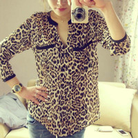 Wholesale Feitong Women Long Sleeve Leopard Print Chiffon Shirt Slim Casual Blouses Top Camisa Feminina Plus Size Wholesales