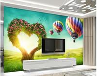 balloons black background - 3d wallpaper TV background wallpaper the living room sofa backdrop mural Loving trees balloons mural wallpaper