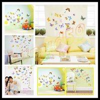 Wholesale hot set butterfly third generations sticker removable bedroom living room TV backdrop wall stickers