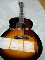 12 string acoustic guitar - 2015 New HOT strings J200 acoustic guitar Sunburst J200 electric acoustic guitar string flame maple Guitar EMS shipping