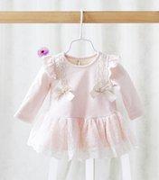 baby blue ribbon - Children Girls Korean Style Long Sleeve Ribbon Bow Lace Beautiful Dresses Cotton Baby Girls Princess Dresses Pink Blue Yellow Dress B3985