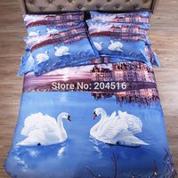 Wholesale white Swan city d painting bedding sets for double bed pure cotton twill fabric doona duvet cover set bedsheet pillow sham pc