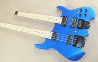 Solid Body 6 Strings Mahogany Steinberger Spirit Double neck 4-String Bass, 6-String Guitar,Metallic Blue Finished Headless Rare Electric Guitar,Maple Fingerboard