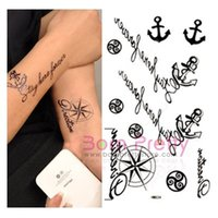 anchor temporary tattoos - Temporary Tattoo Decals Waterproof Personality Anchor Helmsman Letter Pattern Sticker
