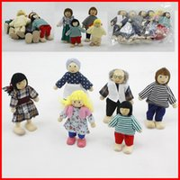 auction toys - 6 Family Wooden Doll Auction figures toys Baby Kids Children Cloth wooden toys Doll Family of Caucasian