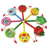 Wholesale 2015 new Cartoon Wooden Animal Spinning Hand Drums Kids Rattles Birthday Party Bag Filler