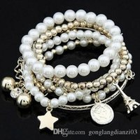 pearl bead ball - Fashion Hot Women Pearl Bracelets Charms Plated Beads Ball Bangle Cuff Bracelet Jewelry