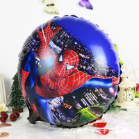 Wholesale 45 CM Spider Man Cartoon Hydrogen Balloon Spiderman inch Round Aluminum Foil Helium Balloons Party Decoration Kids Classic Toys