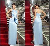 selena gomez dress - New Sexy Celebrity Dresses selena gomez dress Scoop Neckline Keyhole Sleeveless Ruched Pleats Split Side Long Sheath Evening Dress