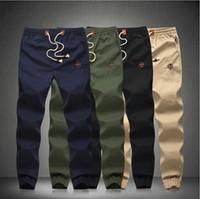 Wholesale Drawstring Men s Fit Cotton jogger pants Mid Rise Leisure Mens beam Pants skinny pants trousers Plus Size M XL
