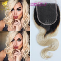 Wholesale Curly European Color 613 - 7A Full Density#1b 613 Lace Closure Bleached Knots Human Brazilian Body Wave ombre hair Closure Free Middle 3 Part Closures