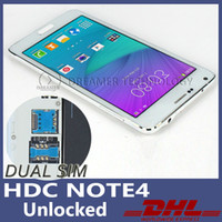 Wholesale 2015 Dual Sim HDC Note Metal Shell x720 inch Screen Cell Phone Quad Core GB RAM GB ROM show LTE G Note4