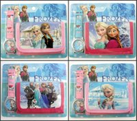 Wholesale Frozen Anna Elsa despicable me in Purse Wallet and watch sets kids children Spidermen cartoon quartz boy girls Christmas gift watches