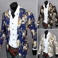 Wholesale fashion men Blazer Jackets mens slim fit printed blazers casual men s floral small suit coat M XL