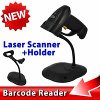 Wholesale 2015 New Set Handheld POS USB Laser Barcode Scanner Bar Code Reader Gun With USB Cable Stand Holder For PC