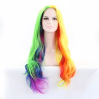 Cheap Gorgeous Beautiful Rainbow Synthetic Lace Front Wigs Heat Resistant Multicolor Long Hair For Beauty Women Party or Cosplay