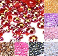 Wholesale Free Shipp1000Pcs Red AB mm Craft ABS Resin Flatback Half Round Pearl Flatback Cabochon Beads Jewelry DIY Decoration