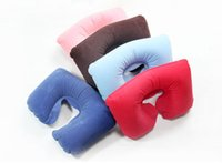 Wholesale New Hot Sale Inflatable Travel Flight Pillow Neck U Shaped Rest Air Cushion Eye Mask Earbuds Drop Shipping HG br