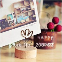 Wholesale Cute Wood Notes Folder Card Photo Clip Stand Message Memo Clip Stationery