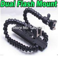armed flash bracket - Tripod heads Camera DSLR Dual Flash Mounts Holder Twin DUAL ARM with Two Hot Shoe Mounts Macro Flash Bracket for Flashgun