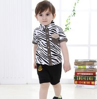 baby boy formal wear - Hot summer wear fashion leopard print children outfits short sleeve shirt shorts set of clothes for toddler baby boys ab3000
