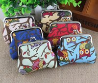 Wholesale New cartoon owl coin purses lady canvas small coin purses