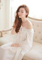 cotton nightgown - 2015 Ladies Silk Princess Nightgown Long White Women s Sleepwear Cotton pijamas femininos