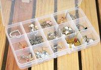 Wholesale 2pcs New Can Detachable Multi Functional Storage Box Lattice Compartment Split Transparent Jewelry Kit Plastic
