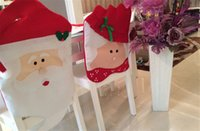 Wholesale 2015 Santa Claus Kitchen Chair Covers dinner chairs covers Banquet Chair covers Christmas Decorations gift Supplies Set