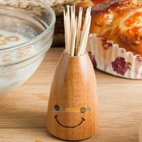 Wholesale LS4G Wooden Creative Smile Face Tooth Pick Holder Toothpicks Can Box Household