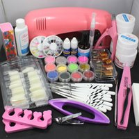 acrylic nails tip - Pro Nail Art UV Gel Kits Tools Pink UV lamp Brush Tips Glue Acrylic Powder Set