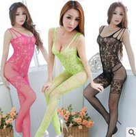 Wholesale w1031 Sexy Wrapped chest lingerie transparent netting temptation big mesh open file coveralls socks sexy lingerie XL