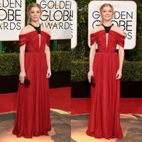 Cheap 2016 Golden Globes Prom Dresses Natalie Dormer Keyhole Neck Beads Red Evening Dress Sweep Train Spring Chiffon Bridesmaid Party Gowns