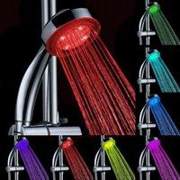 Wholesale RGB Romantic Lights Automatic Colors Changing Change Rainfall Water LED Light Lighting Handheld Shower Head Spray Bathroom