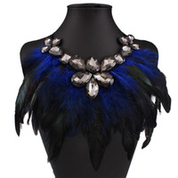 Wholesale Long Feather Tassel Choker Necklaces For Women Jewelry Statement Necklace Rhinestone Ethnic Classic Hot Sale