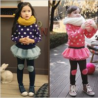 jean skirts - 2014 New winter children leggings Korean fleece lace skirt girls culottes add wool thicken children imitation jean tights pant GR228