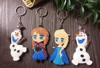 Wholesale 3D Anime Cartoon Movie Frozen Keychain Set Cute Elsa Anna olaf Toys Duplex keychain cm Inch decoration double size doll figure toy gift