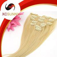 Cheap XCSUNNY 100 % Human Hair Clip Ins Brazilian Virgin Hair Straight 7pcs Clip In Hair Extensions Human #22 613 Grade B 70-80g set