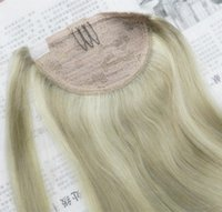 """Cheap 20"""" Clip In Ponytail Human Hair Extensions Wrap Around Ponytail Hair Pieces Piano Color 18 613 Color"""